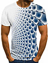 Men\'s T-shirt 3D Graphic Short Sleeve Tops Basic Round Neck Blue Purple Gray