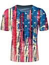 Men\'s T shirt Shirt Graphic National Flag Print Short Sleeve Daily Tops Round Neck Blue