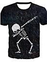 Men\'s T-shirt Graphic Print Short Sleeve Tops Round Neck Black