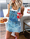 Women\'s Denim Overall Pinafore Dress Short Mini Dress Blue Army Green Gray Sleeveless Solid Color Pocket Spring Summer Square Neck Chic & Modern Hot Casual Regular Fit 2021 S M L XL XXL