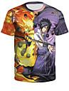 Inspirado por Naruto Fantasias de Cosplay Japonesa/Curta Poliester Estampado Estampado Camiseta Para Homens / Mulheres