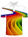 Men\'s Polo Graphic Optical Illusion Print Short Sleeve Daily Tops Streetwear Exaggerated Rainbow