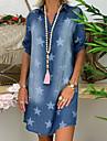 Women\'s Denim Dress Short Mini Dress Blue Light Blue Short Sleeve Star Print Summer V Neck Hot Casual Loose 2021 S M L XL XXL 3XL