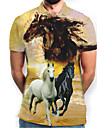 Men\'s Graphic Animal Horse Print Polo Basic Daily Yellow