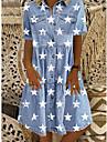 Women\'s Denim Shirt Dress Knee Length Dress Blue Short Sleeve Star Button Front Print Summer Shirt Collar Casual 2021 M L XL XXL 3XL