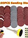 100Pcs 1inch Sanding Disc  Loop Sanding Pad 1inch  1/8inch Shank Abrasives Hook Loop Backer SandPaper Mixed Set