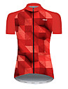 21Grams Women\'s Short Sleeve Cycling Jersey Nylon Polyester Black / Red Plaid Checkered 3D Gradient Bike Jersey Top Mountain Bike MTB Road Bike Cycling Breathable Quick Dry Ultraviolet Resistant