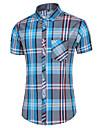男性用 シャツ チェック プラスサイズ プリント 半袖 日常 トップの ベーシック ボランダウン ブルー ルビーレッド / ワーク