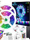 Zdm 50ft 2x7.5m wifi app controlado por sincronizacao de musica que muda de cor rgb led strip lights com 24 teclas remotas sensiveis microfone embutido 5050 rgb led light strip kit dc12v