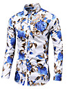 Men\'s Shirt Graphic Plus Size Long Sleeve Daily Tops Business Basic Button Down Collar Blue White Black / Work