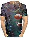 Men\'s Plus Size T-shirt 3D Graphic Skull Print Short Sleeve Tops Basic Exaggerated Round Neck Black / Summer / Club / Portrait