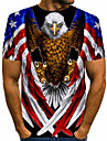 Men\'s Tee T shirt Shirt Graphic Eagle American Flag Independence Day Animal Plus Size Print Short Sleeve Daily Tops Basic Designer Exaggerated Big and Tall Round Neck Blue Red Rainbow