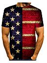 Men\'s T shirt Graphic American Flag Independence Day National Flag Print Short Sleeve Daily Tops Basic Round Neck Navy Blue