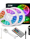 65FT LED Light Strips Waterproof Flexible with IR 44 Key Double Outlet Controller Extended Flexible Strip Lights for Bedroom Party Home Decration 360LEDs 5050SMD 10mm RGB 2x32.8FT