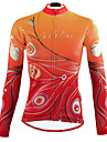ILPALADINO Women\'s Long Sleeve Cycling Jersey Winter Elastane Yellow Floral Botanical Bike Top Mountain Bike MTB Road Bike Cycling Breathable Quick Dry Ultraviolet Resistant Sports Clothing Apparel
