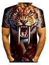 Homens Camiseta Grafico Animal Estampado Manga Curta Diario Blusas Basico Decote Redondo Amarelo / Esportes