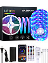 Mashang 20m led strip lights rgb led light strip sincronizacao de musica 1200leds strip led 2835 smd mudanca de cor led strip light bluetooth controlador e 40 principais luzes led remotas para quarto