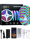 Mashang 20m led strip lights impermeavel rgb led light sync music 1200leds strip led 2835 smd mudanca de cor led strip light controlador bluetooth e 40 teclas luzes led remotas para quarto festa em