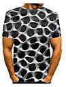 Erkek T gömlek Grafik Desen Kısa Kollu Günlük Üstler Temel Yuvarlak Yaka Mor Mavi Yeşil