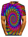 Men\'s T shirt Shirt Rainbow Graphic Optical Illusion Print Short Sleeve Daily Tops Basic Round Neck Rainbow