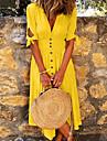 여성용 A 라인 드레스 무릎 길이 드레스 퍼플 옐로우 클로버 오렌지 밝은 블루 짧은 소매 한 색상 주름 잡힌 패치 워크 단추 봄 여름 V 넥 뜨거운 캐쥬얼 2021 S M L XL XXL 3XL 4XL 5XL / 홀리데이