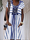 여성용 무릎 길이 드레스 푸른 라이트 그린 짧은 소매 프린트 여름 라운드 넥 뜨거운 캐쥬얼 홀리데이 M L XL XXL 3XL 4XL 5XL / 플러스 사이즈 / 플러스 사이즈