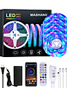 Mashang 20m led strip lights rgb led light strip sync music 1080leds strip led 2835 smd mudanca de cor led strip light controlador bluetooth e 24 principais luzes led remotas para quarto festa em casa