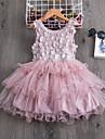 barn smaa jentekjole blomst fest bryllup ruffle tutu mesh brodert hvit blaa roedmende rosa knelang ermeloes elegante prinsesse kjoler