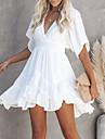 Women\'s Swing Dress Short Mini Dress White Green Short Sleeve Summer V Neck Hot Casual 2021 S M L XL XXL 3XL