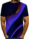 Муж. Футболка Рубашка Графика Большие размеры С принтом С короткими рукавами Повседневные Верхушки Классический преувеличены Круглый вырез Цвет радуги