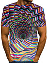 Men\'s T shirt Shirt Graphic Optical Illusion Plus Size Print Short Sleeve Daily Tops Basic Exaggerated Round Neck Rainbow