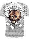 Miesten T-paita Paita 3D-tulostus Kissa Kuvitettu Eläin Painettu Lyhythihainen Päivittäin Topit Perus Pyöreä kaula-aukko Valkoinen Uima-allas Rubiini