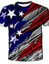Men's Unisex Tee T shirt Shirt 3D Print Graphic Feather American Flag Independence Day Flag Plus Size Print Short Sleeve Daily Tops Streetwear Exaggerated Round Neck Blue Red Green