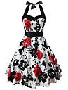 Women\'s Swing Dress Knee Length Dress Yellow White Sleeveless Floral Print Zipper Print Spring Summer Halter Neck Hot Vintage Holiday 2021 S M L XL XXL / Cotton / Cotton