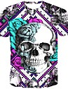 Men\'s T-shirt Graphic Skull Print Short Sleeve Tops Streetwear Exaggerated Round Neck Purple Red Green
