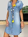 Women\'s Plus Size Denim Shirt Dress Short Mini Dress Black Blue Navy Blue Gray Short Sleeve Pocket Button Front Summer V Neck Hot Casual Cotton 2021 XL XXL