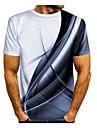 Miesten T-paita Paita Galaksi Kuvitettu 3D Print Painettu Lyhythihainen Päivittäin Topit Perus Pyöreä kaula-aukko Purppura Keltainen Sininen