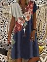 Women\'s Shift Dress Knee Length Dress Blue Short Sleeve Floral Clothing Summer V Neck Hot Casual vacation dresses 2021 M L XL XXL 3XL