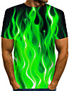 Men\'s T shirt Shirt Graphic Flame Print Short Sleeve Daily Tops Basic Exaggerated Round Neck Blue Purple Orange