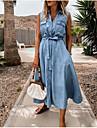 Women\'s Denim Shirt Dress Midi Dress Light Blue Sleeveless Solid Color Lace up Pocket Button Spring Summer Shirt Collar Hot Casual 2021 S M L XL