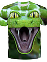 Men\'s T shirt Shirt Graphic Animal Print Short Sleeve Daily Tops Streetwear Exaggerated Round Neck Green