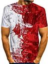 Men\'s T shirt Shirt Graphic Print Short Sleeve Daily Tops Basic Round Neck Rainbow