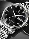 Men\'s Mechanical Watch Quartz Stylish Classic Water Resistant / Waterproof Analog - Digital Black+Gloden White+Silver Black / One Year / Stainless Steel