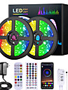 5M 10M 15M 20M RGB LED Strip Lights Music Sync 12V Waterproof LED Strip 2835 SMD Color Changing LED Light with Bluetooth Controller and 100-240V Adapter for Bedroom Home TV Back Light DIY Deco