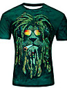 Men\'s T shirt Graphic Animal Plus Size Print Short Sleeve Casual Tops Purple Light Green Army Green
