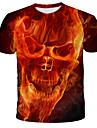 Ανδρικά Μπλουζάκι Γραφική Νεκροκεφαλές Στάμπα Κοντομάνικο Καθημερινά Άριστος Κομψό στυλ street Εξωγκωμένος Στρογγυλή Λαιμόκοψη Ρουμπίνι