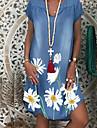 Women's Shift Dress Knee Length Dress White Light Blue Short Sleeve Floral Print Summer V Neck Hot Casual 2021 M L XL XXL 3XL / Denim