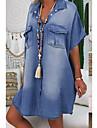 Women\'s Denim Shirt Dress Knee Length Dress Blue Dusty Blue Light Blue Short Sleeve Summer V Neck Hot Casual 2021 S M L XL XXL 3XL / 100% Cotton / 100% Cotton