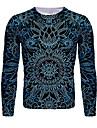 בגדי ריקוד גברים חולצה קצרה חולצה הדפסת תלת מימד פרחוני גראפי שרוול ארוך יומי צמרות בסיסי צווארון עגול כחול כהה