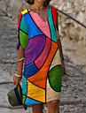 Women\'s Shift Dress Knee Length Dress Blue Rainbow Half Sleeve Color Block Print Fall Summer V Neck Casual Loose 2021 M L XL XXL 3XL